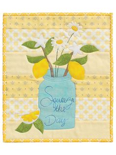 Make this lemon theme pattern the quickest quilted lemon home decor for you to make! Love lemons or lemon branch decor? This is for you, with buttery light yellows as the back ground, a vintage Ball canning jar vase for lemon branches and white daisies Mug Rug Patterns, Jelly Roll Quilt Patterns, Star Quilt Patterns, Quilting Ideas, Ball Canning Jars, Mason Jar, Elephant Quilt, Picnic Quilt, Plaid Quilt