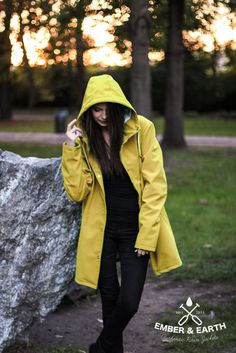 Get the classic rainwear look, with a modern feel. Yellow Rain Jacket, Yellow Raincoat, Little Haven, The Howling, Rain Wear, Looks Great, Dress Up, The Originals, My Style