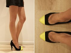 DIY neon cap heels via a pair and a spare.