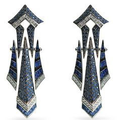 Blue Sapphire and Diamond Earrings: Sharart Design
