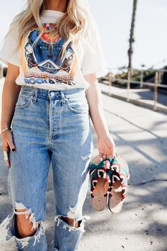 Shop this look with Lisa Allen from Salty Lashes. #AGOLDE #freepeople #concert #tee #denim #sandals #ShopStyle #SpringStyle #SummerStyle #MyShopStyle #OOTD #shopthelook Look Fashion, Retro Fashion, Fashion Outfits, Summer Outfits, Cute Outfits, Summer Clothes, Lisa Allen, Trends, Western Wear