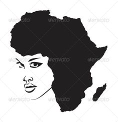 VECTOR DOWNLOAD (.ai, .psd) :: https://hardcast.de/article-itmid-1005986206i.html ... Face of Africa ...  africa, african, afro-american, american, black, black face, continent, face, outline, silhouette  ... Vectors Graphics Design Illustration Isolated