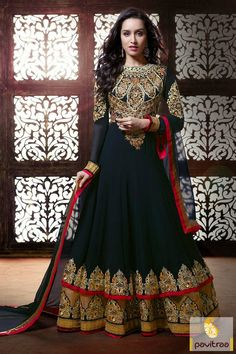 Pavitraa Black Floor Length Anarkali Salwar Suit Rs 5372.1  #diwaliutsav #dipavalisalwarsuits #dipawalioffer