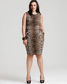 """Tahari Woman Plus Size """"Janine"""" Leopard-Print Sheath Dress, $178.00"""