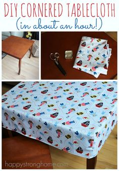 DIY Cornered Tablecloth Tutorial - a one hour sewing project that will help you protect your tables while kids do crafts & DIY projects!