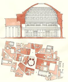 Watercolor section and plan of Pantheon Rome by MoniqueHarby