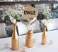 50th wedding anniversary centerpieces 2 {BN Black Book of Parties}   Golden 50th Wedding Anniversary