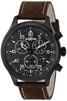 Timex T49905D7 - Reloj de cuarzo para hombres, correa de piel, color marrón
