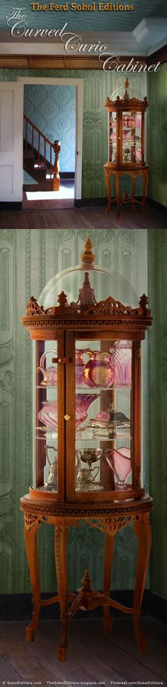 The Curved Curio Cabinet by The Ferd Sobol Editions was created as a safe and secure piece of furniture to display all those tiny treasures miniature collectors create and collect. 1/12th scale. See more on the building of this edition: http://thesoboleditions.blogspot.com/2013/03/Curved-Curio-Cabinet-Sobol.html