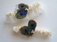 Peacock Garter Set Feather WEDDING Rhinestone bridal by WeeGardens, $49.00
