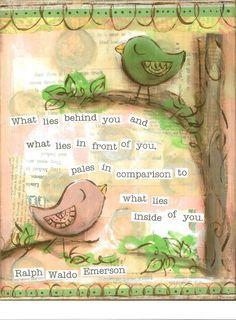 Inspirational Art, What Lies Inside of You Birds in pink, Ralph Waldo Emerson, 8 x 10 Fine Art Print via Etsy