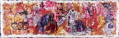 Village II, 50x150 cm - Art by Lønfeldt - original abstract painting, modern textured art, colorful