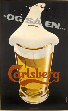1958 Carlsberg Beer Polar Bear by Thorkil Møller - Original Vintage Poster Beer Advertisement, Old Advertisements, Retro Advertising, Vintage Travel Posters, Vintage Ads, Poster Vintage, Guinness Advert, Sous Bock, Jokes