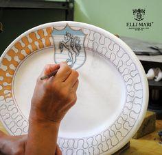 Leocorno - Unicorn. One of the contrades of the Palio Work in progress... entirely hand painted in Italy! Italian ceramics made in Deruta. #italianceramics #handmade #madeinitaly #PaliodiSiena