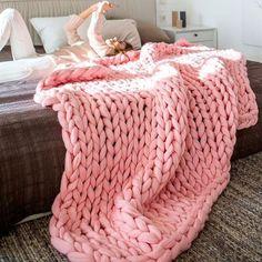 Chunky Knit Blanket Pink Blanket Super Chunky Blanket Giant