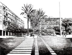 Rabin Square Original Pen Drawing by Camille Cullinan, $175.00