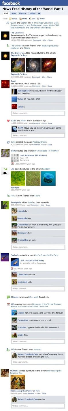 Facebook newsfeed history of the world