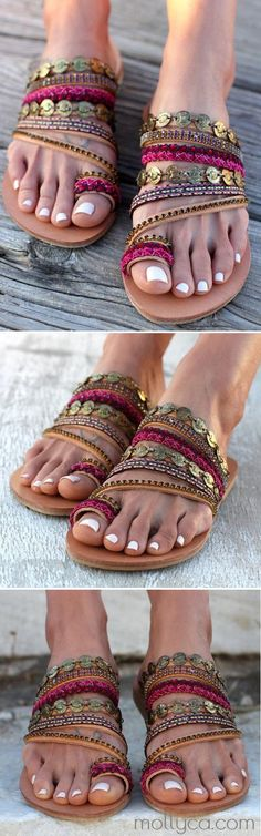 "$50.29 USD Sale!SHOP NOW! Slip on artisanal sandals, Handmade Greek leather Sandals, Swarovski crystals, Boho Sandals, Ethnic leather sandals ""Aysel"""