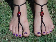 Black and Red Barefoot Sandals Slave Anklet foot by HouseOfBlaise, $12.00
