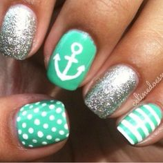 anchor, glitter nail art design