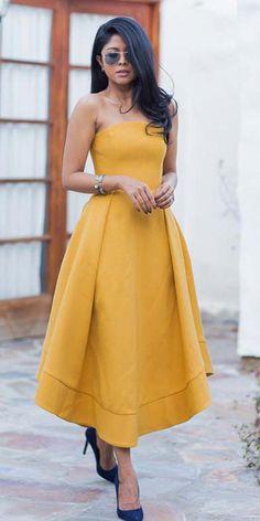 8ac5c7f6ed Newest Satin Strapless Neckline Tea-length A-line Prom Dress Tea Length  Dresses