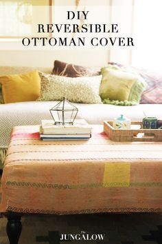 DIY Reversible Ottoman Cover - Get the tutorial on The Jungalow!