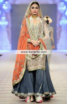 Fahad Hussayn Bridal Sharara Collection Indian Pakistani Bridal Dresses PFDC…