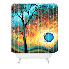 Madart Inc. Aqua Burn Shower Curtain | Deny Designs Home Accessories