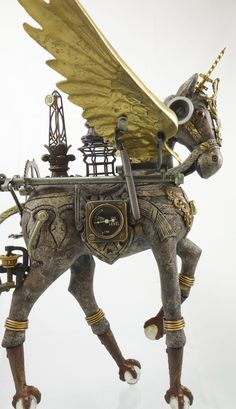 """Cavalique"" Steampunk Horse Assemblage using antique and vintage parts by Larry Agnello at assemblique.com List of Materials: • Wood Horse • Four Antique Claw&Ball Feet • Antique Sewing Machine..."