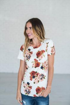 Madelyn Floral Tee - Ivory