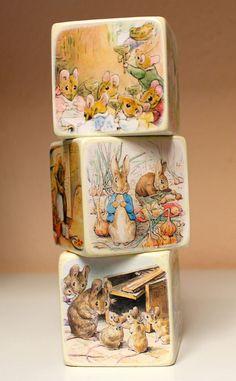 Beatrix Potter Blocks. $15.00 for 3, via Etsy. will do custom scenes from books