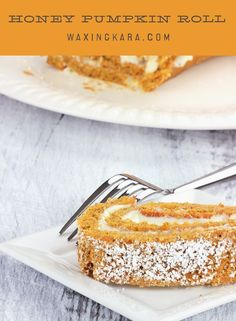 Just in time for autumn, this Honey Pumpkin Roll is a special treat reserved for the fall.although you might tempted to make it year round! Fun Desserts, Delicious Desserts, Dessert Recipes, Cheese Pumpkin, Pumpkin Puree, Chewy Brownies, Jelly Roll Pan, Honey Recipes, Paper Cake