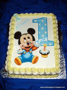 Baby Mickey 1st birthday cake --Erik