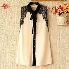 E Summer mujeres de Corea del cordón del color del encanto costuras blusa de gasa sin mangas de la solapa