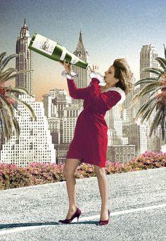 Champagne Girl Postcard by Max Hernn