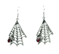 Hanging Gothic Spiderweb & Spider Earrings