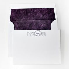 Letterpressed Personal Stationery in Eggplant & Silver from Haute Papier - PS-D23