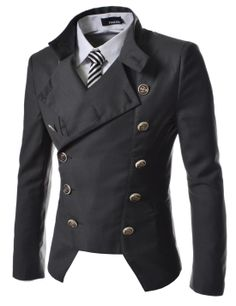 fabcbe421081 TheLees (NJK4) Manns leger doppelt Breasted High neck Slim fit Short Blazer  Jacke  Amazon.de  Bekleidung
