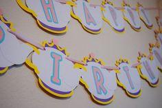 Belleza y la bestia feliz cumpleaños bandera; Banner de cumpleaños de la Sra. Potts; Decoración fiesta princesa Disney; Tea Party Decor; Tetera taza té