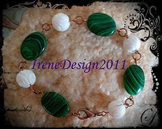 Beautiful Handmade Copper Bracelet with Malachite & Carved White Coral Would you like to wear this bracelet? Please let me know, thank you :-) You can find this bracelet here and other beautifu...