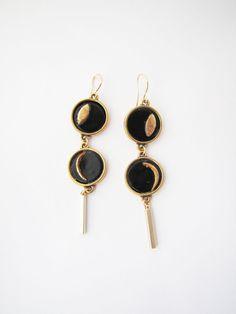 Cosmic earrings. Crescent moon  gold black dangle by Nuann on Etsy, $19.50
