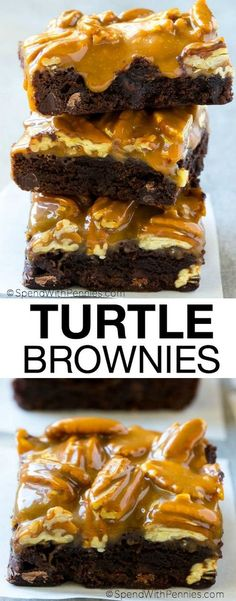 These turtle brownies are decadently delicious with a gooey caramel pecan topping. They're super easy to make and are perfect for any occasion that calls for a sweet treat!