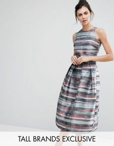 Little Mistress Tall Full Prom Skater Dress In Stripe Jacquard