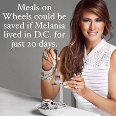 Imagine this image on 50 billboards strategically placed in Red States. You would need to include the cost of Melania's Secret Service detail versus that of Meels on Wheels. Maybe include a split picture of an eldery woman, bedridden, getting her meal, or a vet. DNC, why not?