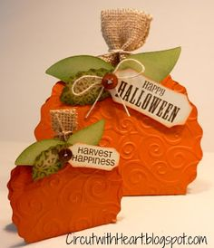 Cricut with Heart: Pumpkin Treat Boxes with Artiste - These were created with Circut, but it would be easy to alter and create a 4, 6, and 8 inch pumpkin.
