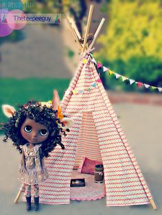 Doll Sized Tent Blythe or Similar 18 inch high by Theteepeeguy,