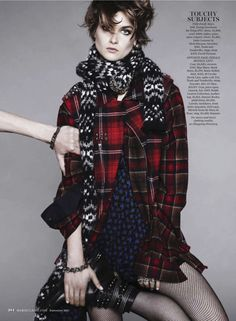 visual optimism; fashion editorials, shows, campaigns & more!: clash of the tartans: bo, kersti, alanna, li, paul, joseph, michael and chris by jan welters for us marie claire september 2013
