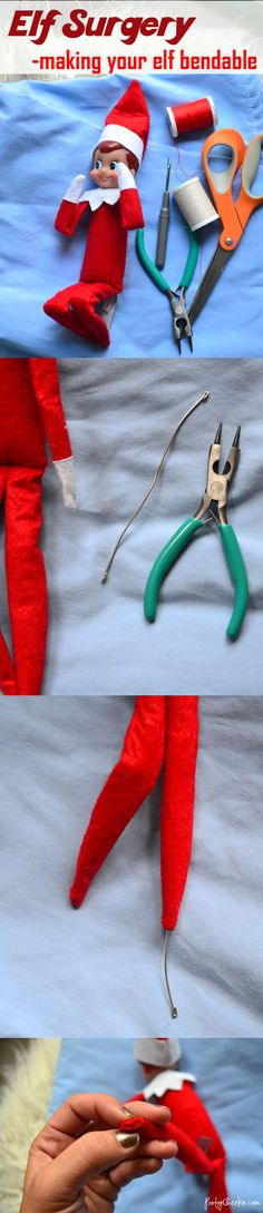 The elf on the shelf surgery that makes him or her bendable. http://www.poofycheeks.com
