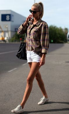 Summer outfits / white denim mini short   flannel shirt