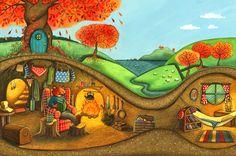 Fox in his Autumn Den Children's Illustration by Emma Allen.